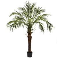 Nearly Natural 72-Inch Artificial Robellini Palm Tree with Black Planter