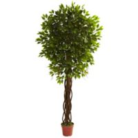 Nearly Natural 90-Inch Indoor/Outdoor Artificial Ficus Tree with Black Planter