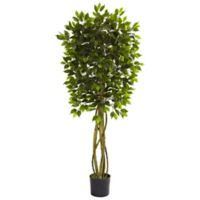 Nearly Natural 66-Inch Indoor/Outdoor Artificial Ficus Tree with Black Planter