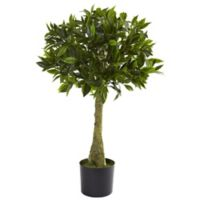 Nearly Natural 36-Inch Indoor/Outdoor Artificial Bay Leaf Topiary with Black Planter
