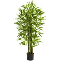 Nearly Natural 48-Inch Indoor/Outdoor Artificial Bamboo Tree with Black Planter
