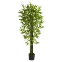 Nearly Natural 5-Foot UV-Resistant Artificial Bamboo Tree with Black Pot