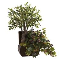 Nearly Natural 32-Inch Olive and Grape Artificial Tree with Chest