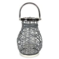 Northlight Modern 13.5-Inch Woven Iron Pillar Candle Lantern in Grey