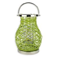Northlight Modern 13.5-Inch Woven Iron Pillar Candle Lantern in Green