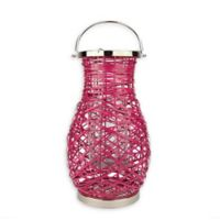 Northlight Modern 18.5-Inch Woven Iron Pillar Candle Lantern in Pink