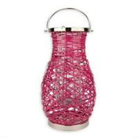 Northlight Modern 16.25-Inch Woven Iron Pillar Candle Lantern in Pink