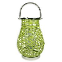 Northlight Modern 16.25-Inch Woven Iron Pillar Candle Lantern in Green