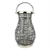 Northlight Modern 16.25-Inch Woven Iron Pillar Candle Lantern in Grey