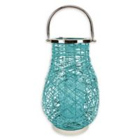 Northlight Modern 16.25-Inch Woven Iron Pillar Candle Lantern in Turquoise