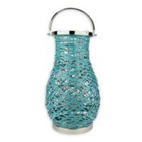 Northlight Modern 18.5-Inch Woven Iron Pillar Candle Lantern in Blue