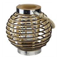 Northlight 9.5-Inch Rustic Chic Round Rattan Candle Holder Lantern
