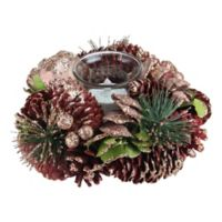 Dusty Rose Pinecone Candle Holder in Brown