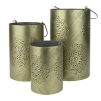 Northlight Seasonal Decorative Floral Cut-out Pillar Candle Lanterns in Grey (Set of 3)