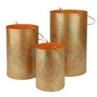 Northlight Seasonal Decorative Floral Cut-out Pillar Candle Lanterns in Orange (Set of 3)
