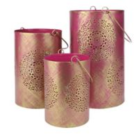 Northlight Seasonal Decorative Floral Cut-out Pillar Candle Lanterns in Pink (Set of 3)