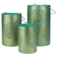 Northlight Seasonal Decorative Floral Cut-out Pillar Candle Lanterns in Blue (Set of 3)