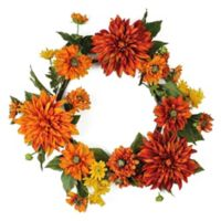 22-Inch Mums and Daises Artificial Wreath