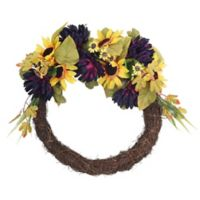Northlight 20-Inch Sunflower and Mum Flower Wreath