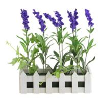 Northlight 11.75-Inch Artificial Lavender Plant with White Picket Fence Planter