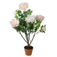 Artificial Light Peony 36-Inch Flower Plant in Green/Pink with Pot