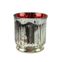 Northlight Ribbed Mercury Glass Decorative Votive Candle Holders in Red/Silver (Set of 4)