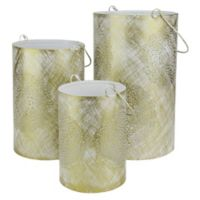 Northlight Decorative Floral Cut-Out Pillar Candle Lanterns in White (Set of 3)