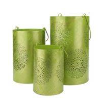 Northlight Decorative Floral Cut-Out Pillar Candle Lanterns in Green (Set of 3)
