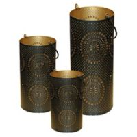 Northlight Decorative Floral Cut-Out Pillar Candle Lanterns in Black/Gold (Set of 3)