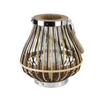 Northlight 9.25-Inch Rustic Chic Pear Shaped Rattan Candle Holder Lantern