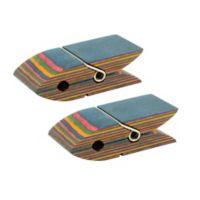 Island Bamboo Rainbow Pakka Wood Bag Clips (Set of 2)