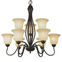Bel Air Glasswood 9-Light Chandelier in Oil Rubbed Bronze with Tea Stain Shades