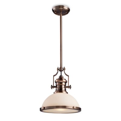 elk lighting chadwick 1light pendant in antique copper wfrosted glass diffuser