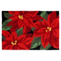 "Christmas Rugs 30"" X 20"" Poinsettia Woven Accent Rug"
