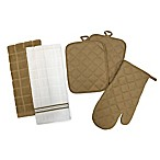 5-Piece Quilted Kitchen Linen Set in Tan