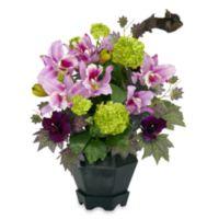 Nearly Natural 18-Inch Mixed Cattleya & Hydrangea Silk Arrangement