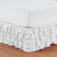 Elegant Comfort Multi-Ruffle Queen Bed Skirt in White