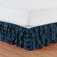 Elegant Comfort Multi-Ruffle Twin Bed Skirt in Navy Blue