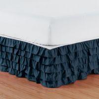 Elegant Comfort Multi-Ruffle Queen Bed Skirt in Navy Blue