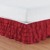 Elegant Comfort Multi-Ruffle Queen Bed Skirt in Burgundy