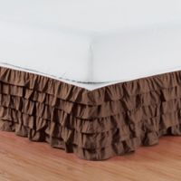 Elegant Comfort Multi-Ruffle King Bed Skirt in Chocolate Brown