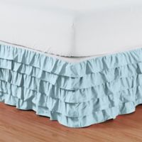 Elegant Comfort Multi-Ruffle Queen Bed Skirt in Aqua
