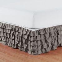 Elegant Comfort Multi-Ruffle King Bed Skirt in Grey