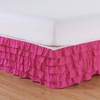 Elegant Comfort Multi-Ruffle Full Bed Skirt in Pink