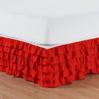 Elegant Comfort Multi-Ruffle Queen Bed Skirt in Red