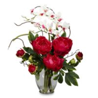 Nearly Natural 21.5-Inch Peony & Orchid Silk Flower Arrangement - Red