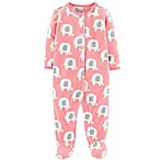 carter's® Size 3M Elephant Fleece Coverall in Pink