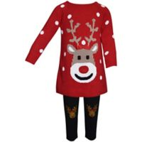 Blueberi Boulevard Size 3-6M 2-Piece Reindeer Ugly Christmas Sweater and Print Legging