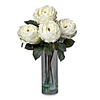 Nearly Natural 18-Inch Fancy Rose with Cylinder Vase Silk Flower Arrangement in White