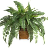 Nearly Natural 46-Inch Boston Fern Silk Plant with Wicker Basket